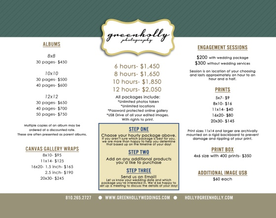 greenhollyphotography green holly photography blog – Wedding Price List